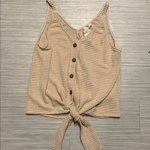 Cream Tank Top with a front tie